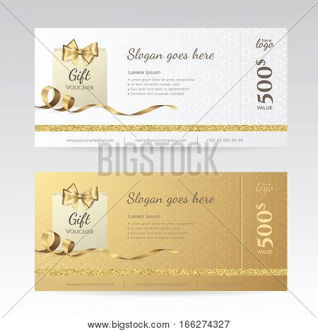 Set of elegant shiny gift voucher with golden bow, ribbon and paper shopping bag. Vector template for gift card, coupon and  certificate with ornate background. Isolated from the background.