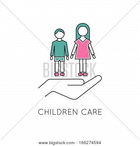 Vector thin line icon, boy and girl on the palm. Children, brother and sister. Logo template illustration. Metaphor of children care. Colored isolated symbol. Simple mono linear modern design.