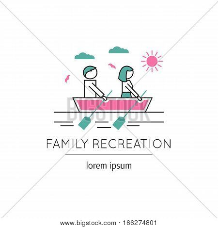 Vector thin line icon, two people sailing boat. Metaphor of family communication and mutual understanding. Colored isolated symbol. Simple mono linear modern design.
