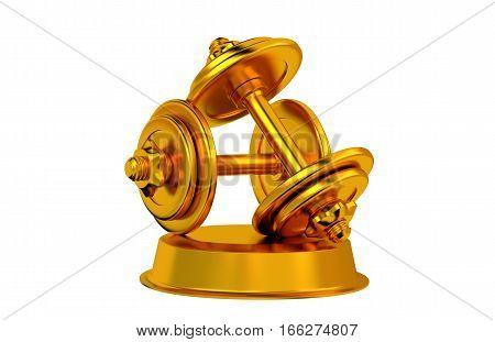 3D illustration of Dumbbell Golden Trophy with white background