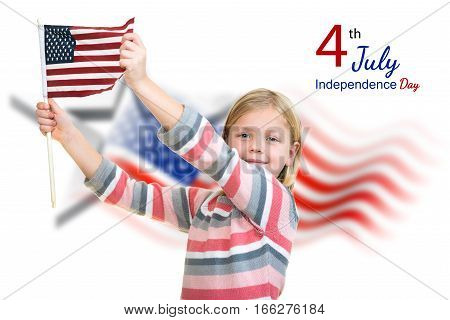 Sweet blonde Girl holding an american flag.