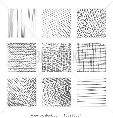 Hatching textures, cross lines canvas patterns on white background vector illustration