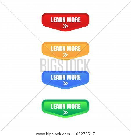 Colorful Set of Learn More Button. Isolated. EPS 10.