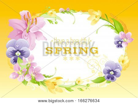 Spring yellow background. Easter, Mothers day, Birthday, Wedding. Flower frame lily, pansy, crocus, leaf, wreath. Natural border, modern vector illustration. springtime greeting card, text lettering