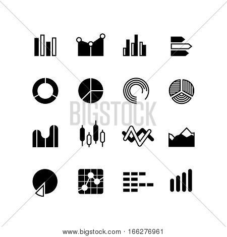 Graphic, graph, stats data bar, infographic charts, analyze diagram vector icons. Infographic statistic data, analysis infographic black silhouette illustration