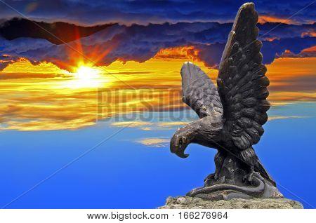 Eagle statue in Emblem Pleasure Resort in Pyatigorsk city, Northern Caucasus,Russia.