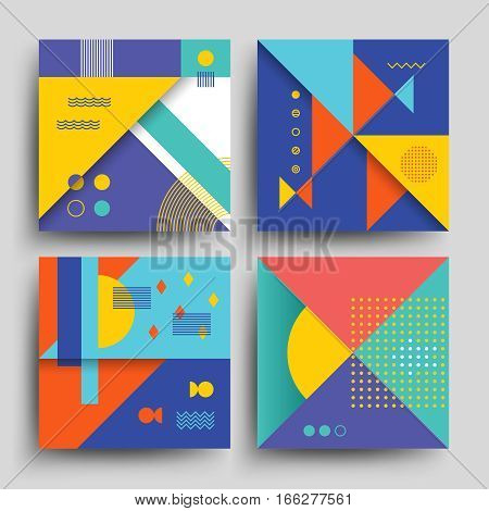 Minimal 2d design, model vector covers, placards, posters, flyers and banners in retro 80s-90s style. Card with vintage colored pattern, card flyer with trendy 90s style vintage illustration