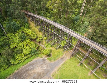 Vintage Trestle Bridge In Australian Forest - Aerial View.