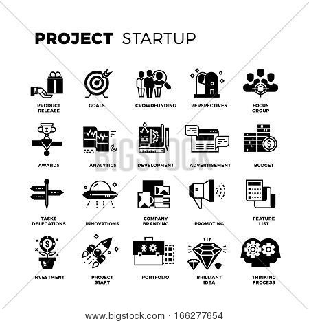 Start up, venture capital, entrepreneur vector icons set. Invest and promote project, collection of project management icons illustration
