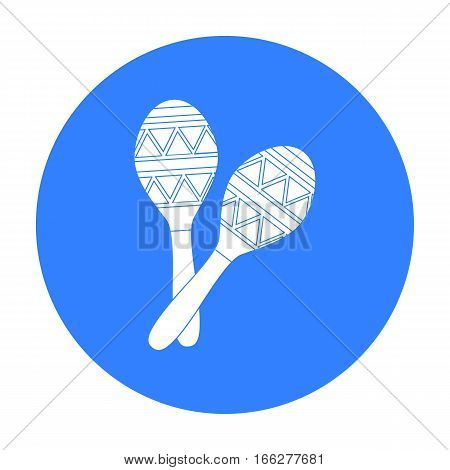 Mexican maracas icon in blue style isolated on white background. Mexico country symbol vector illustration.