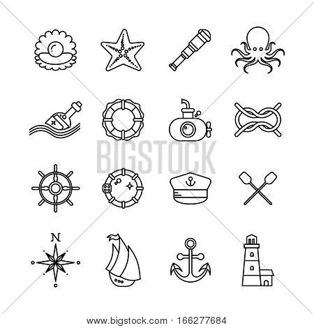 Marine, sea, nautical thin line vector icons. Nautical boat and nautical lighthouse illustration