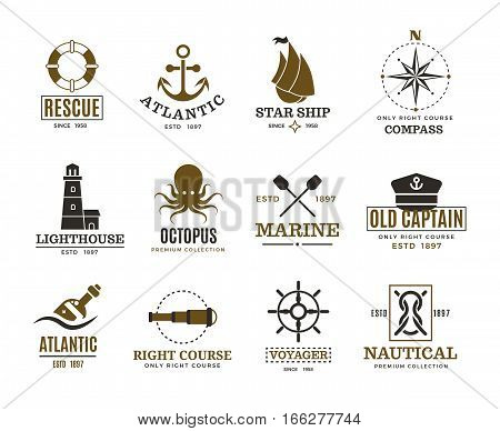 Vintage nautical, marine sailing, sea vessel vector labels, badges, logo. Sea marine logo, atlantic sea label illustration