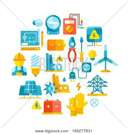 Electric power, electrical lines, electricity vector concept with flat icons. Round shape electrical badge logo with equipment for production power electricity illustration
