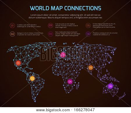 Vector world polygonal map communication infographic template with legend. World linear map, illustration of global map internet