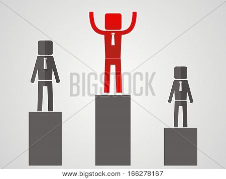 competitor concept - leader stands on the podium