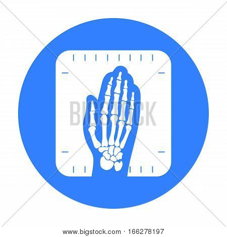 X-ray hand icon blue. Single medicine icon