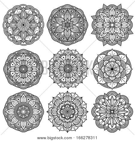 Yoga medallions, meditation mandalas, arabesque pattern vector. Set of mandala floral, henna tattoo mandala decoration illustration
