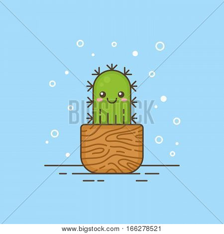 Cute cartoon cactus character in a wooden pot thin lined icon. Houseplant logo template with strokes and outlines for gardening or kids products company business branding or web design.