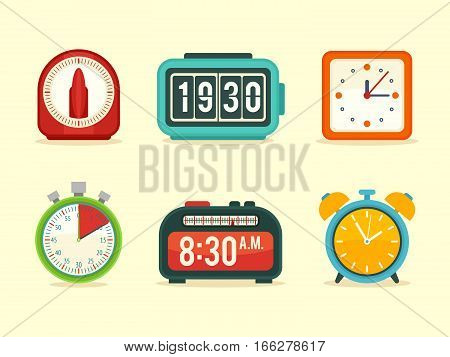 Flat clock icons set with digital and analog displays kitchen timer flip clock modern wall clock sport stopwatch alarm with bells
