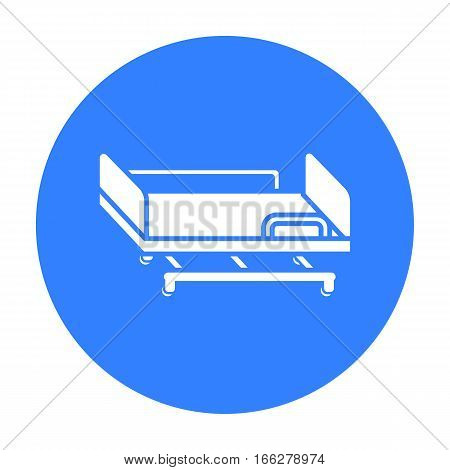 Hospital gurney icon blue. Single medicine icon