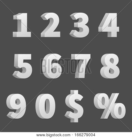 Vector 3D numbers and symbols. Three-dimensional numbers and finance signs, illustration of order numbers figure