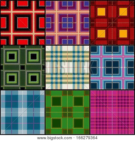 Classic tartan, british traditional stripe, plaid vector seamless patterns set. Texture classic checkered cloth, illustration of fashion textile scottish checkered