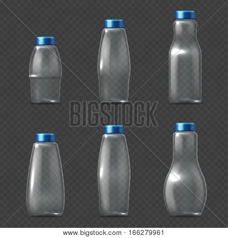 Empty glassware fragile packaging, transparent glass bottles milk, juice and water vector illustration. Set of empty bottle with cap for water, realistic glossy clear bottles