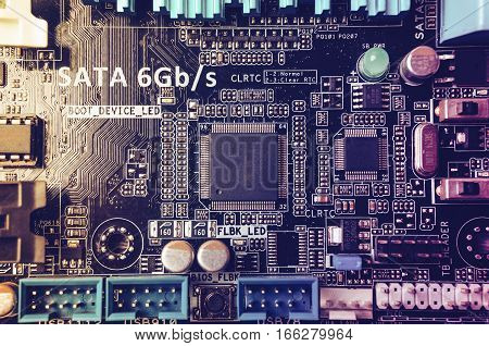 Circuit board. Electronic computer hardware technology. Motherboard digital chip. Tech science background. Integrated communication processor. Information engineering component. Toned image