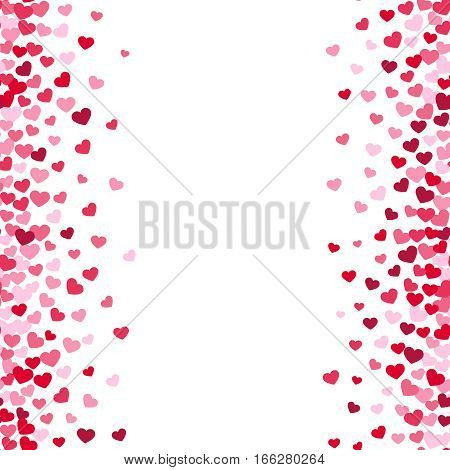 Lovely romance valentine vector white backgrouns with pink and red heart borders. Valentines day card template