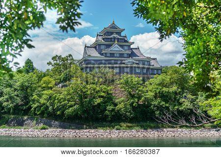 Closeup view of Okayama castle behind trees in Japan