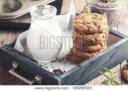 Homemade Chocolate Chip Cookies in wooden box Ready to Eat