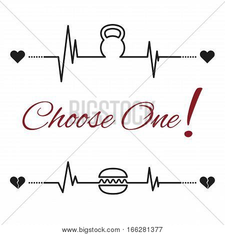 Vector choose one template with kettlebell and hamburger. Pictograms are placed on the cardiogram line.