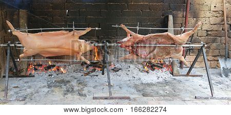 Two Pigs That Cook Slowly On Enormous Steel Spit In The Gigantic