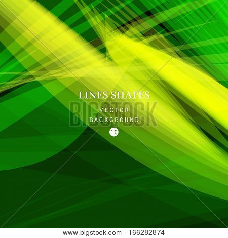 Bright colorful modern striped abstract background vector. Green yellow floral tropical stripes waves lines for banner brochure website and flyer design. Contrast of light shadow and colors