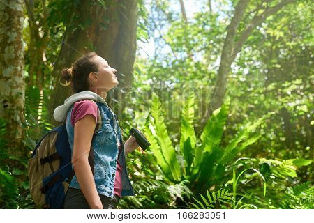 Woman hiker watching through binoculars wild birds in the tropical jungle. Bird watching tours. Ecotourism concept image travel.