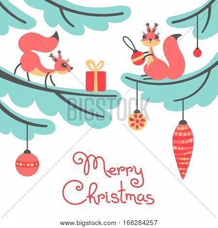 Merry Christmas. Cute little squirrels with gift on Christmas trees. Christmas card in cartoon style. Vector illustration.