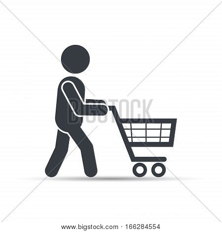 Silhouette of people out shopping with supermarket cart. Man shopping icon design vector.