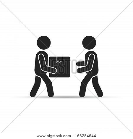 Man gives package box to another. Flat style vector illustration hand to hand fast rapid shipping delivery concept.