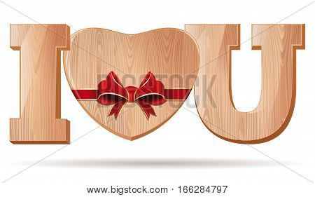 Wooden hearts for Valentine's Day. Abbreviation - I love you. I L U. Wooden Heart tied with red ribbon. Vector illustration