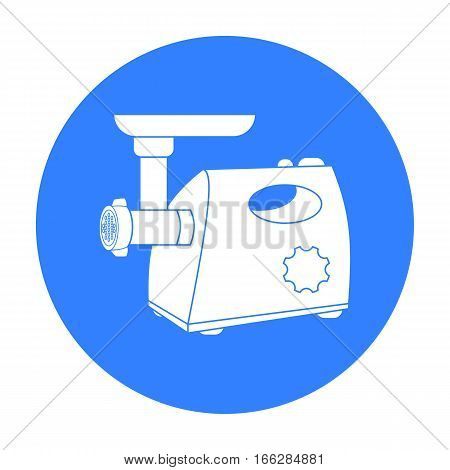 Electical meat grinder icon in blue style isolated on white background. Kitchen symbol vector illustration.
