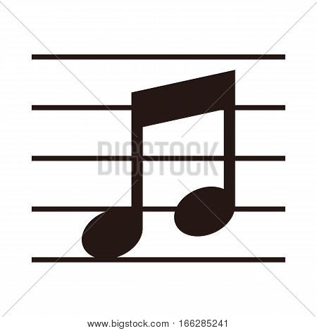 Music note on stave isolated on white backgorund- vector illustration