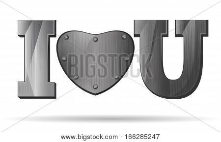 Iron hearts for Valentine's Day. Abbreviation - I love you. I L U. Metal heart isolated on white background. Design elements for Valentine's Day. Vector illustration