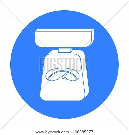 Kitchen scale icon in blue style isolated on white background. Kitchen symbol vector illustration.