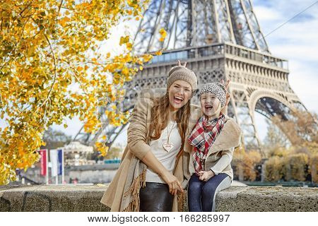 Mother And Child Travellers Having Fun Time In Paris, France