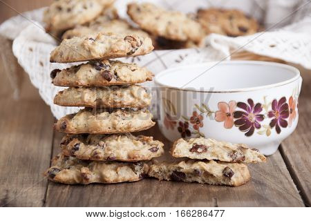 Oatmeal Cookies with dry barberry and sunflower seeds