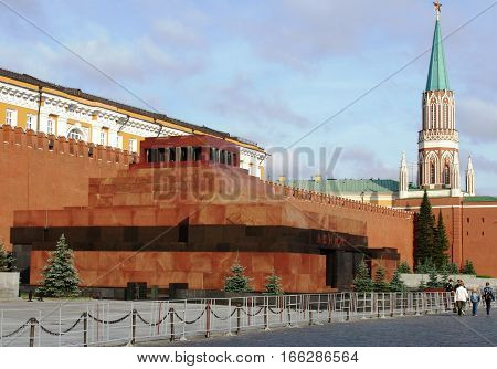 MOSCOW - JULY 03, 2009: Lenin's mausoleum on Red Square in Moscow in early summer sunny morning