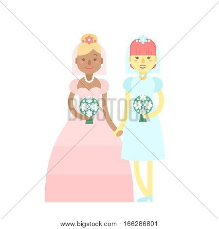 Wedding couple. Cute flat characters brides in dresses with festive flower bouquets just married. Homosexual same sex relationships happy lesbian girls.