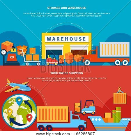 Two logistic banner set with worldwide shipping and storage and warehouse isolated and with text vector illustration