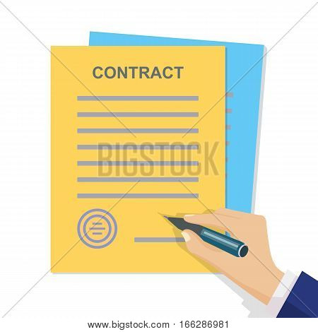 Contract signing. Man signs document stamped handle puts his signature. Contract with Stamp and Signature. Modern concept for web banners, web sites, infographics. Flat style. Vector.