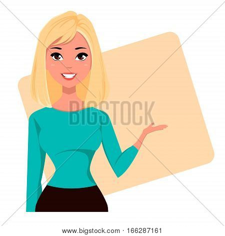 Young cartoon businesswoman wearing business style clothing. Fashionable blond modern lady. Beautiful girl presenting business plan startup. Vector illustration. EPS10
